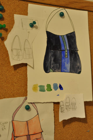 sketch of messenger bag for custom baby bag client by Crystalyn Kae