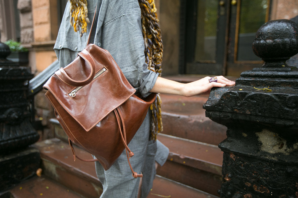 brown vegan leather backpack