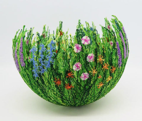freeform embroidery stitched thread bowl for fairies