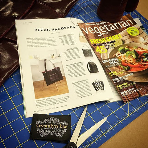 vegan bags in vegetarian times crystalyn kae metier