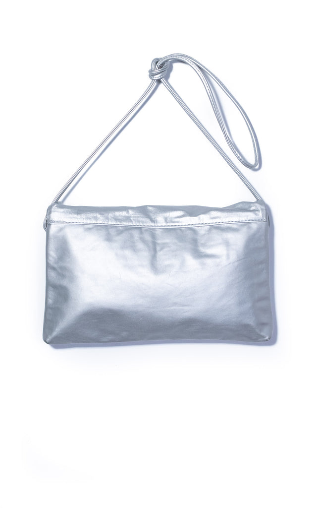 Double Envelope Clutch - Matte Silver Recycled Leather