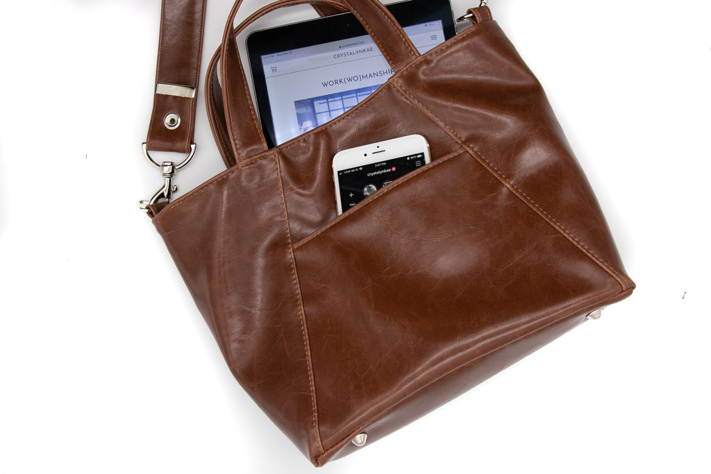 Mini Troubadour Tote - Ale Brown Vegan Leather