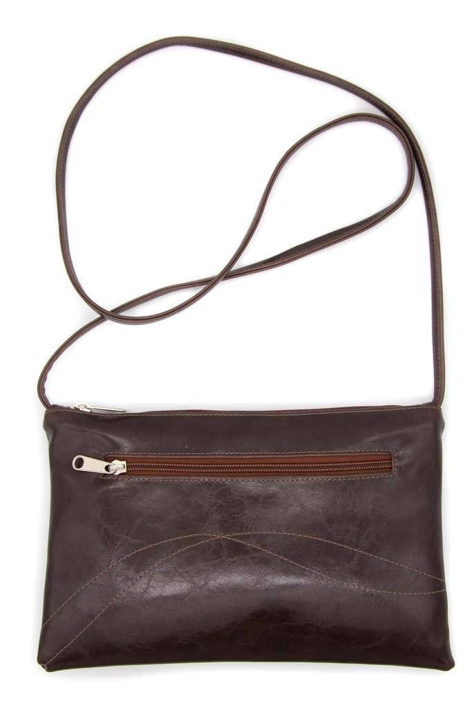 Bossa Nova Medium Crossbody - Chocolate Brown Vegan Coated Canvas made in usa