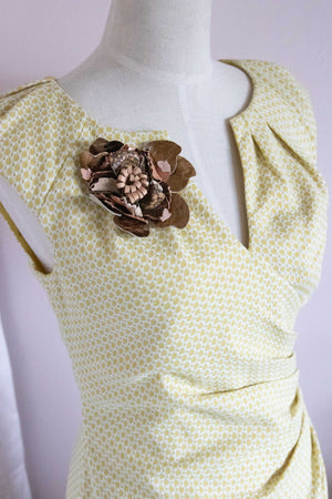 Flower Pin Brooch - Metallic Bronze Leather