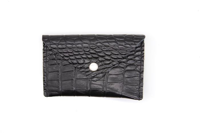 Card Case Wallet- Black Crocodile Recycled Leather