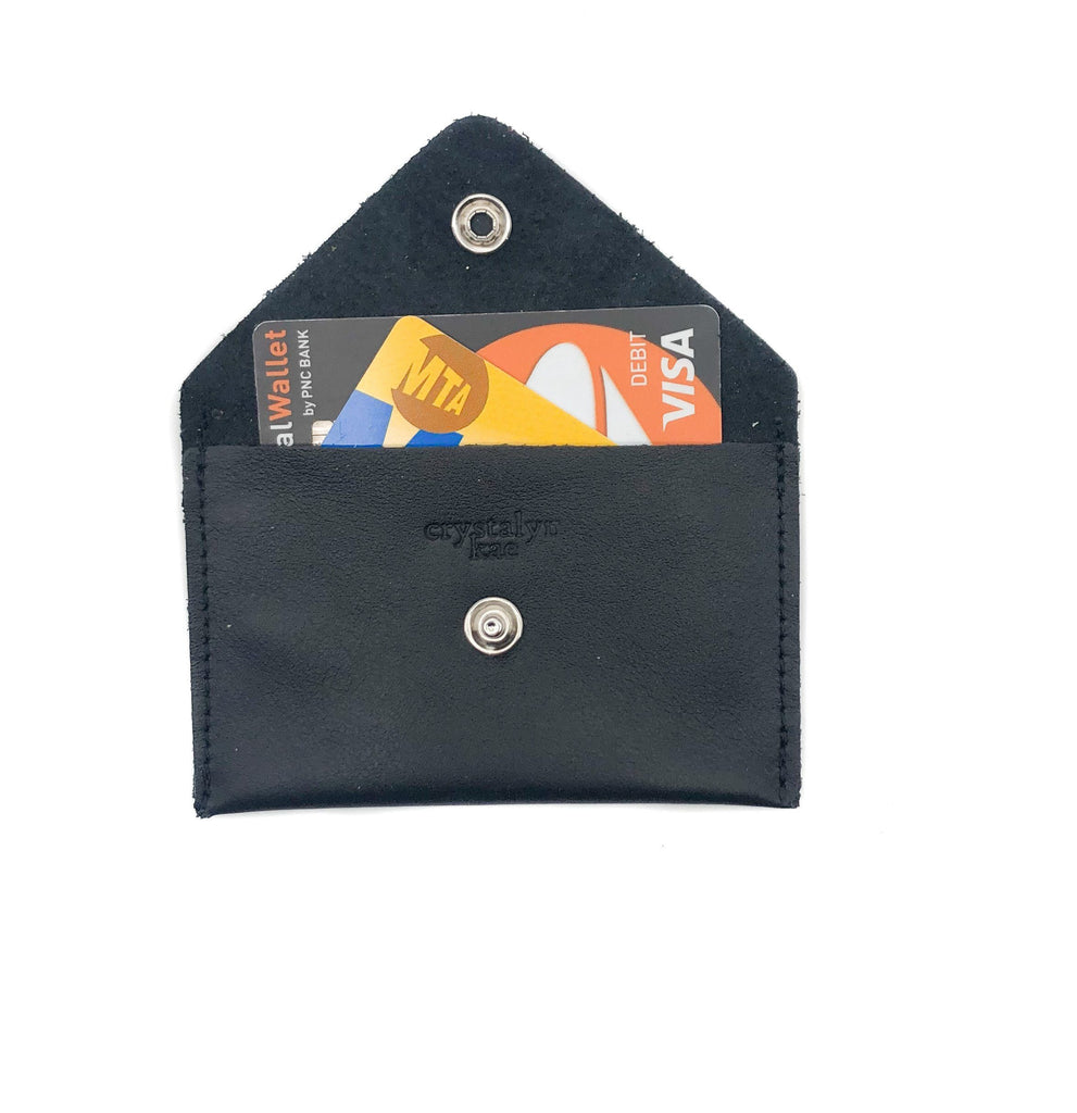 Card Case Wallet- Black Recycled Leather