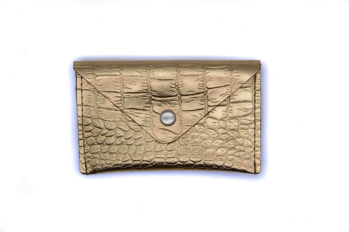 Card Case Wallet - Gold Crocodile Recycled Leather