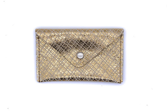 Card Case Wallet - Gold Crosshatch Recycled Leather