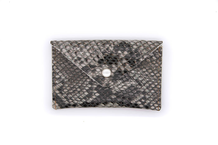 Card Case Wallet- Grey Python Recycled Leather