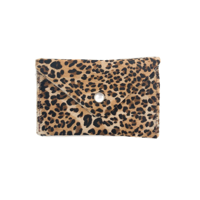 Leather Card Case Wallet- Leopard Print Ponyhair