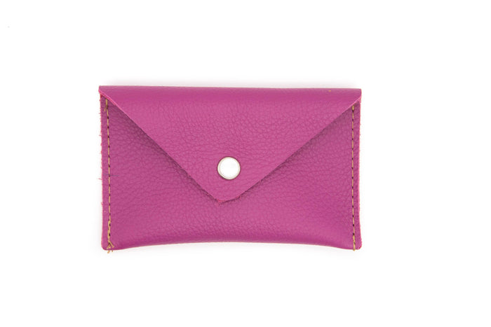 Card Case Wallet- Pink Recycled Leather