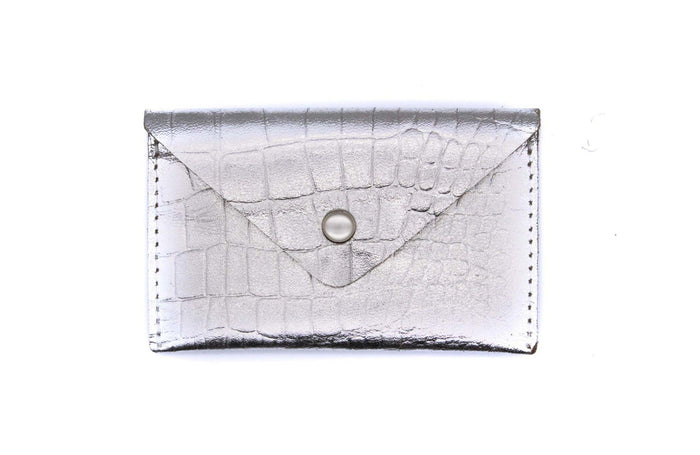 Card Case Wallet - Silver Crocodile Recycled Leather