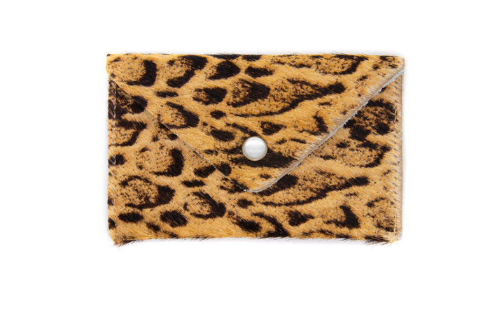 Card Case Wallet- Snow Leopard Print Ponyhair