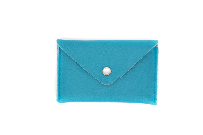 Card Case Wallet- Turquoise Recycled Leather