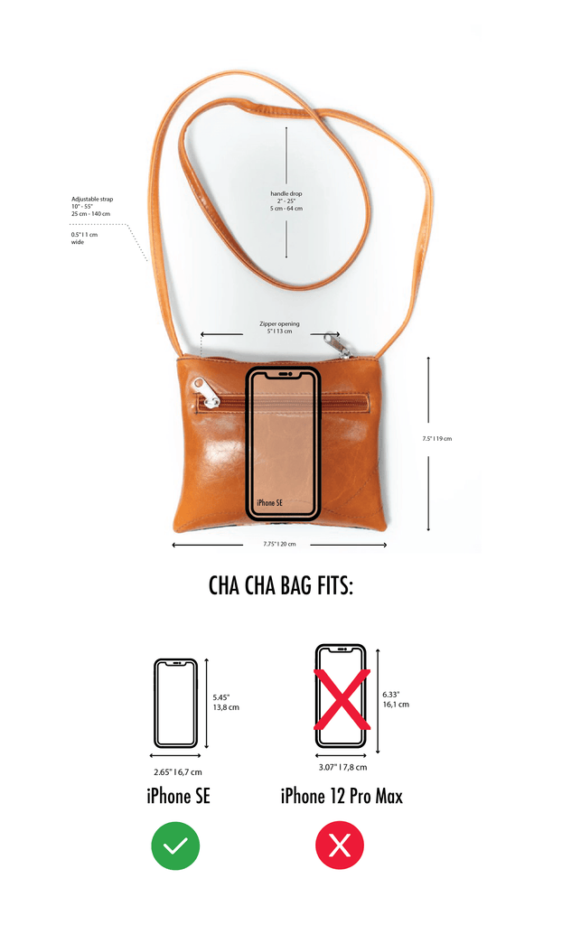 Cha Cha Small Crossbody Bag - dimensions and measurements diagram