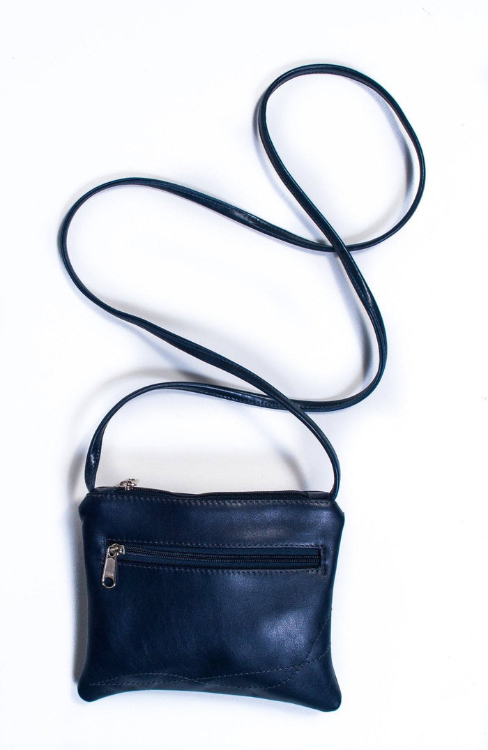 Cha Cha Small Crossbody Bag - Navy Blue Recycled Leather