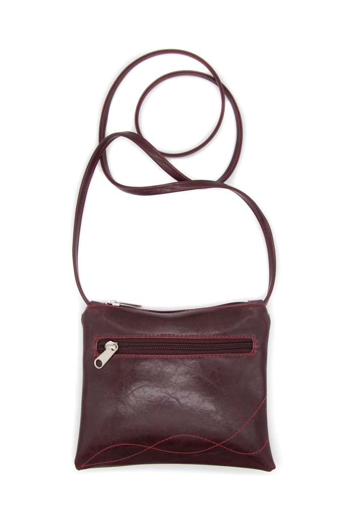 Cha Cha Small Crossbody Bag - Wine Vegan Leather