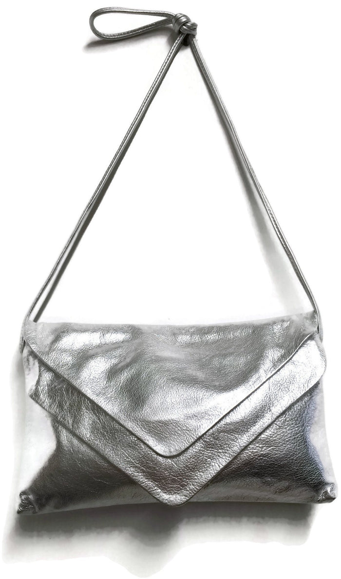Double Envelope Clutch - Metallic Silver Recycled Leather
