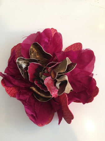 Flower Pin Brooch - Pink Taffeta And Bronze Leather