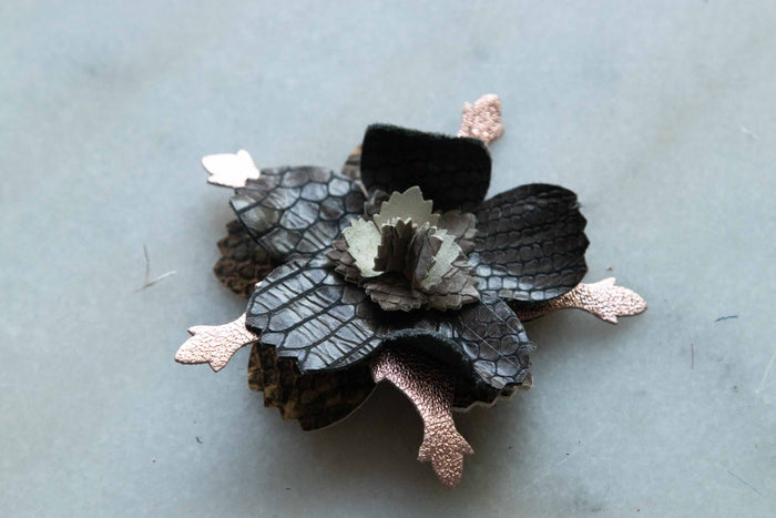 Flower Pin Brooch - Monochrome Metallic