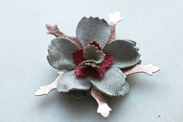Flower Pin Brooch - White And Bronze