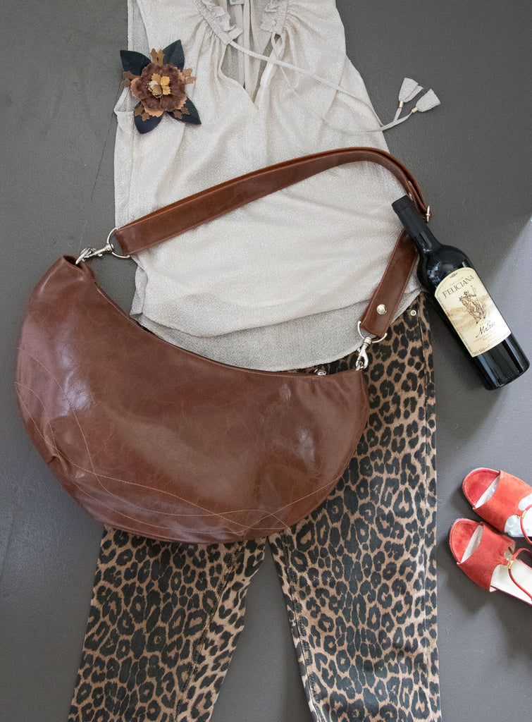 Charleston Large Topstitch Hobo - Ale Brown Vegan Leather