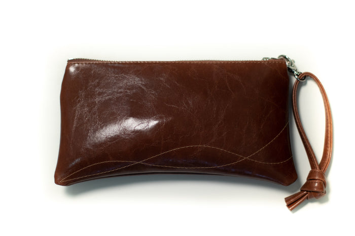 clutch wristlet Large Valet Pouch Ale Brown Vegan Leather