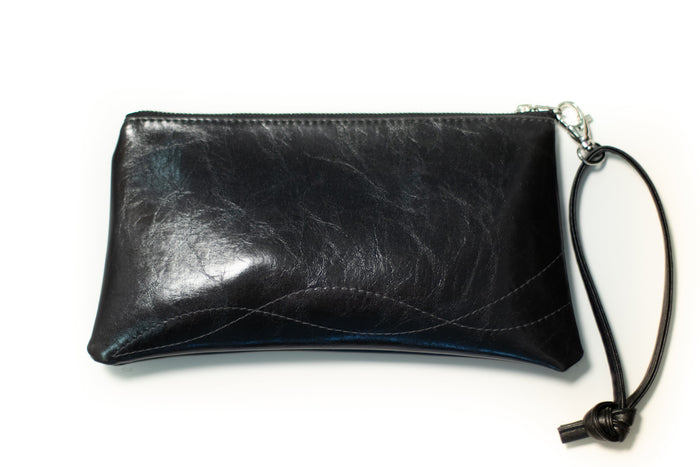 clutch wristlet Large Valet Pouch Black Vegan Leather coated canvas made in usa