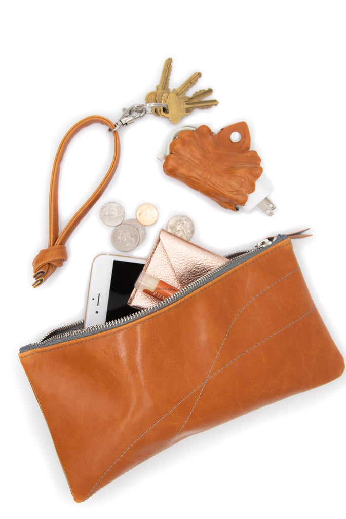 Large Valet Pouch Butterscotch Vegan Leather made in usa