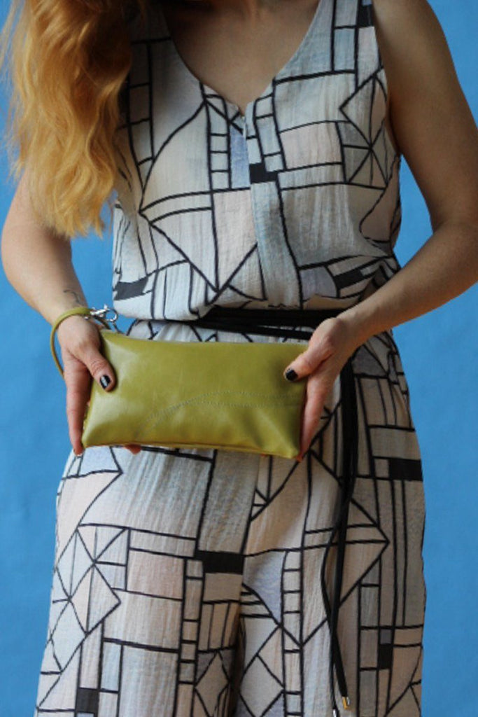 Large Valet Pouch Citrine Green Vegan Leather