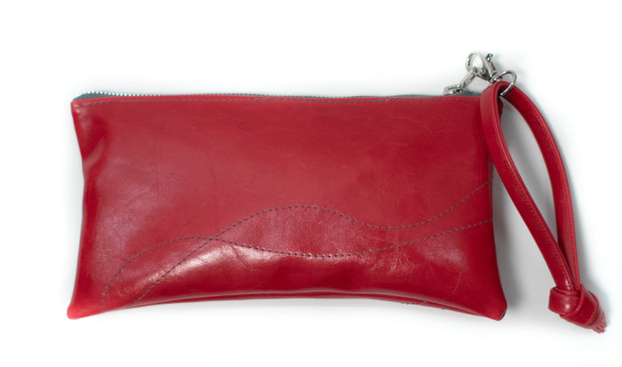 Large Valet Pouch Cherry Red Vegan Leather made in usa