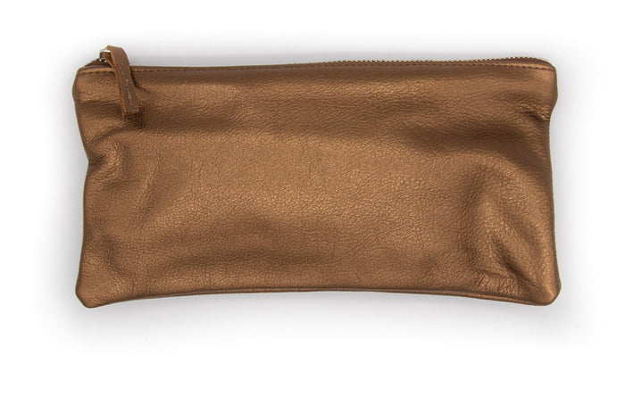 clutch wristlet Large Valet Pouch - Metallic Bronze Recycled Leather