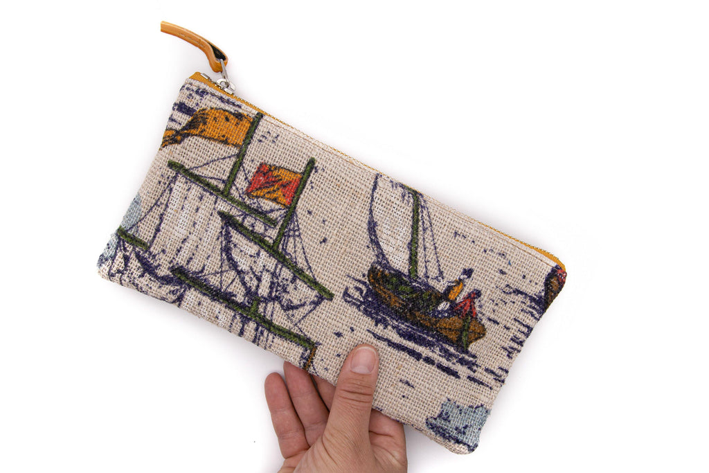 Large Valet Pouch - Morro Bay Sailboats Vintage Fabric