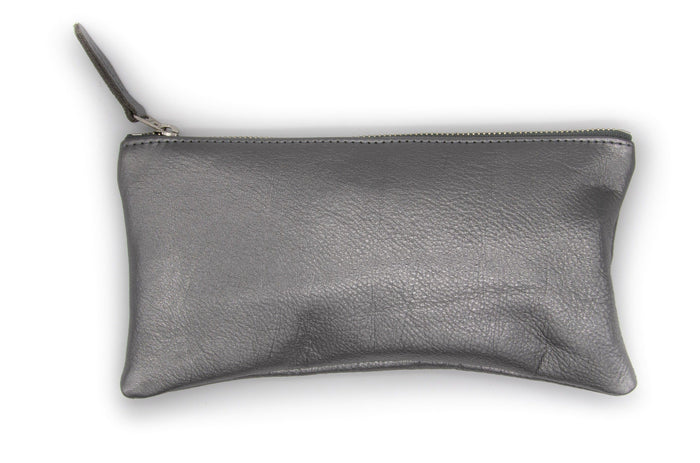 Large Valet Pouch - Pewter Recycled Leather made in usa