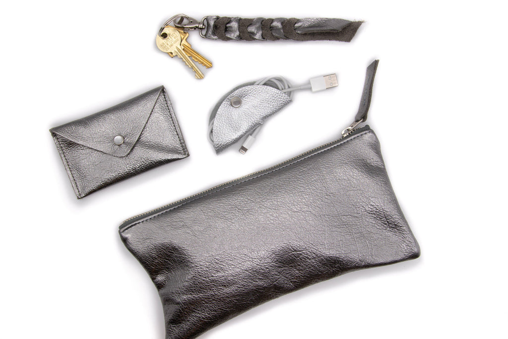 Large Valet Pouch - Pewter Recycled Leather