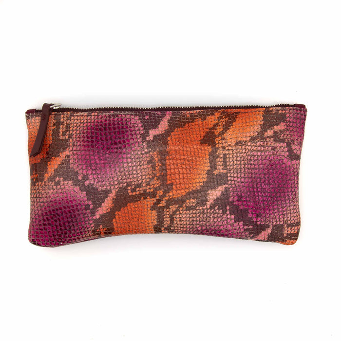 Large Valet Pouch -Pink And Orange Python Recycled Leather