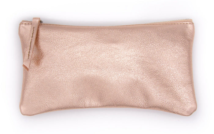 clutch wristlet Large Valet Pouch - Rose Gold Recycled Leather made in usa
