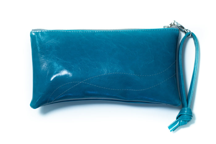 Large Valet Pouch Teal Vegan Leather