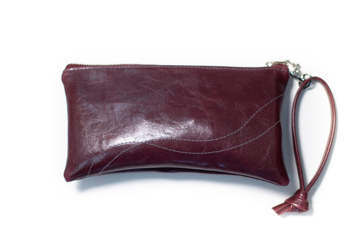 clutch wristlet Large Valet Pouch Wine Vegan Leather made in usa