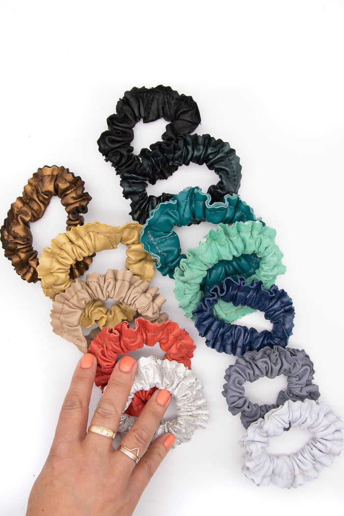 Leather Scrunchie Hair Tie - Various Colors