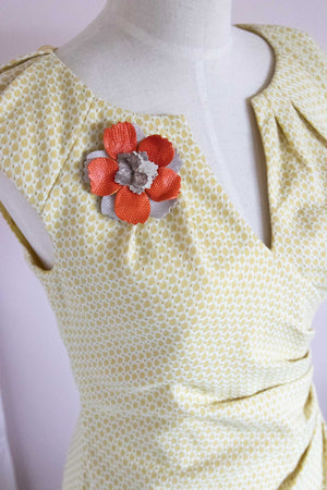 Flower Pin Brooch - Orange and Neutral