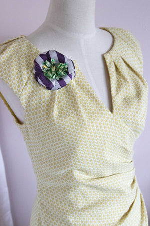 Flower Pin Brooch - Purple Silk Stripe