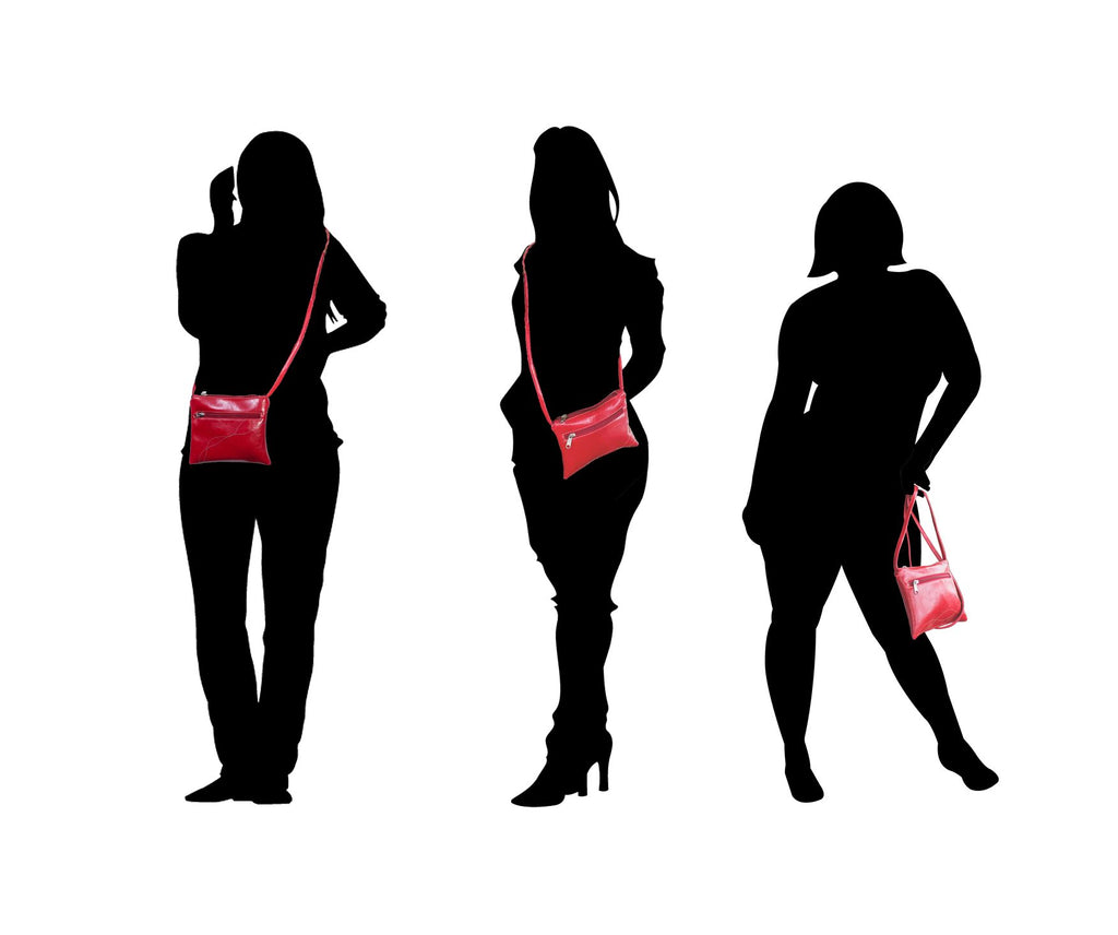 silhouettes of women in various sizes wearing Cha Cha Small Crossbody Bag - Cherry Red Vegan Leather