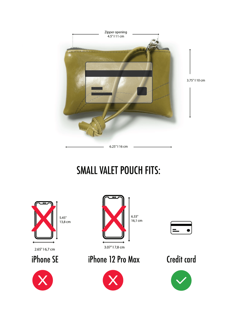 Small Valet Pouch measurements
