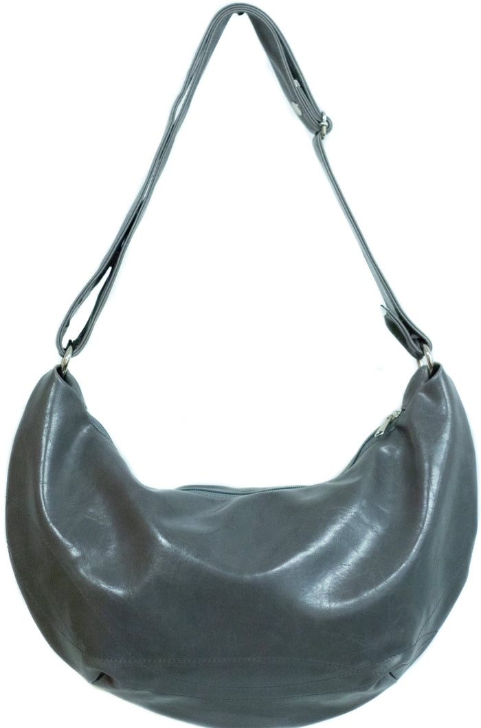 Womens Hobo Purse - Charleston Large Topstich Hobo- Gray Vegan Leather coated canvas made in usa