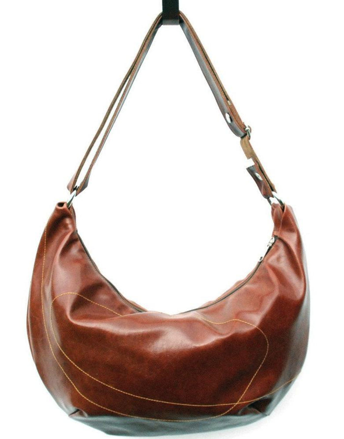 Womens Hobo Purse - Charleston Large Topstitch Hobo - Ale Brown Vegan Leather