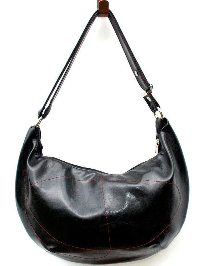 Womens Hobo Purse - Charleston Large Topstitch Hobo - Black Vegan Leather