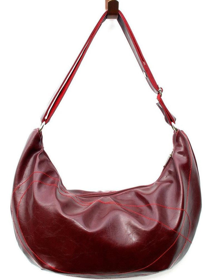 Womens Hobo Purse - Charleston Large Topstitch Hobo - Wine Vegan Leather