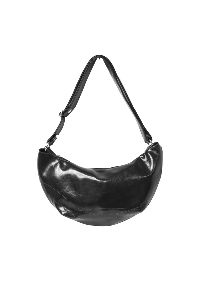 Womens Hobo Purse - Foxtrot Medium Topstitch Hobo Bag - Black Vegan Leather