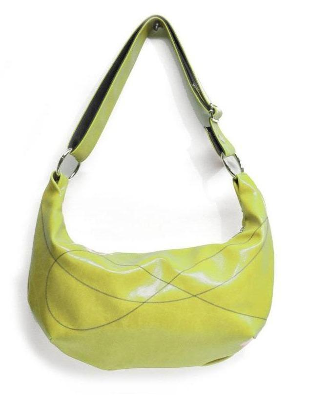 Womens Hobo Purse - Foxtrot Medium Topstitch Hobo Bag - Citrine Green Vegan Leather  Vegan Coated Canvas made in USA